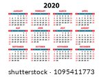 Calendar 2020 Vector Pocket...