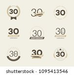 30 years anniversary logo set.... | Shutterstock .eps vector #1095413546