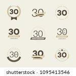 30 years anniversary logo set.... | Shutterstock .eps vector #1095413546