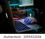 digital crime by an anonymous... | Shutterstock . vector #1095422036