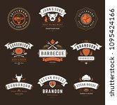barbecue restaurant logos and... | Shutterstock .eps vector #1095424166