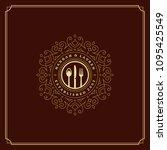 restaurant logo design vector... | Shutterstock .eps vector #1095425549
