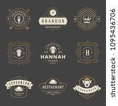 restaurant logos design... | Shutterstock .eps vector #1095436706