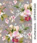 seamless summer pattern with... | Shutterstock . vector #1095445160