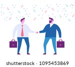 two business men shaking hands... | Shutterstock .eps vector #1095453869