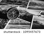 compass on photograph of... | Shutterstock . vector #1095457673