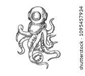 octopus and old diver helmet... | Shutterstock .eps vector #1095457934