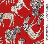 horse zebra wild animal... | Shutterstock .eps vector #1095462806