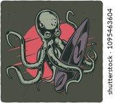 surfing theme t shirt or poster ... | Shutterstock .eps vector #1095463604