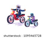 bikers family colorful poster... | Shutterstock .eps vector #1095465728