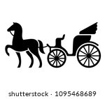 vintage horse drawn carriage.... | Shutterstock .eps vector #1095468689