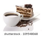 coffee cup  coffee beans and... | Shutterstock . vector #109548068