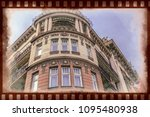 old photo with facade of... | Shutterstock . vector #1095480938