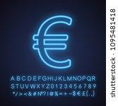 euro sign neon light icon.... | Shutterstock .eps vector #1095481418