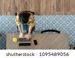 top view of young asian woman... | Shutterstock . vector #1095489056