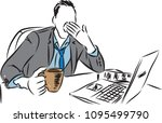 tired businessman vector... | Shutterstock .eps vector #1095499790
