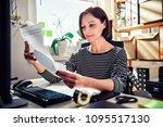 business woman wearing striped... | Shutterstock . vector #1095517130