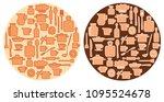 beige kitchenware on round...   Shutterstock .eps vector #1095524678