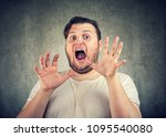 chubby casual man holding hands ... | Shutterstock . vector #1095540080