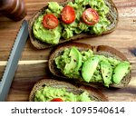 top view of avocado toast on a...   Shutterstock . vector #1095540614
