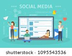 social media concept. people... | Shutterstock .eps vector #1095543536