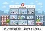 hospital city building interior ... | Shutterstock .eps vector #1095547568