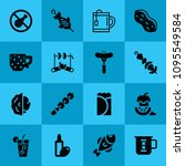 filled food 16 vector icons set....