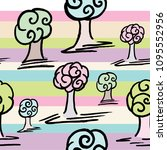 pattern with set of cute trees... | Shutterstock .eps vector #1095552956