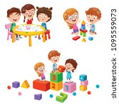 vector illustration of kids... | Shutterstock .eps vector #1095559073