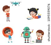 vector illustration of kids... | Shutterstock .eps vector #1095559076