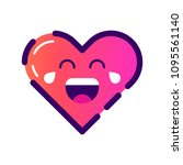 vector cute heart icon. emoji... | Shutterstock .eps vector #1095561140