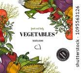 vegetables background. organic...   Shutterstock .eps vector #1095563126