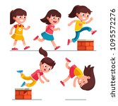 smiling girl kid walking ... | Shutterstock .eps vector #1095572276