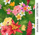 watercolor tropical flowers... | Shutterstock .eps vector #1095578654