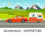 family holiday. travel trailer... | Shutterstock .eps vector #1095587180