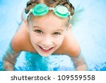 pretty little girl in swimming... | Shutterstock . vector #109559558