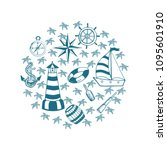 vector  card with handdrawn  ... | Shutterstock .eps vector #1095601910