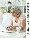 happy senior woman using laptop | Shutterstock . vector #1095605060