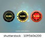 casino coins chip set on bokeh... | Shutterstock .eps vector #1095606200