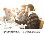 two businessmen in office...   Shutterstock . vector #1095610139