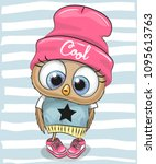 cute cartoon owl in a hat and... | Shutterstock .eps vector #1095613763