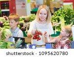family shopping in grocery... | Shutterstock . vector #1095620780