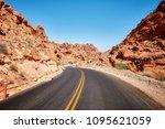 scenic deserted road  travel... | Shutterstock . vector #1095621059