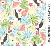 tropical seamless pattern with... | Shutterstock .eps vector #1095624299