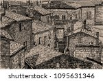italy  tuscany. old stone... | Shutterstock .eps vector #1095631346