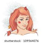 autumn. a beautiful young girl... | Shutterstock .eps vector #109564076