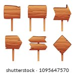 wooden direction signs isolate... | Shutterstock .eps vector #1095647570