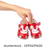 baby shoes sandals in hand rope ... | Shutterstock . vector #1095659630