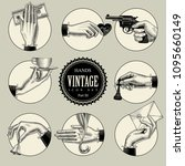 set of round icons in vintage... | Shutterstock .eps vector #1095660149