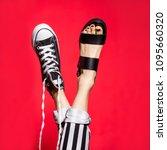 woman legs in summer shoes... | Shutterstock . vector #1095660320